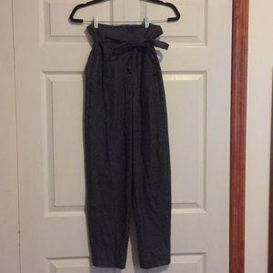 Warm grey paper bag waist suit pants